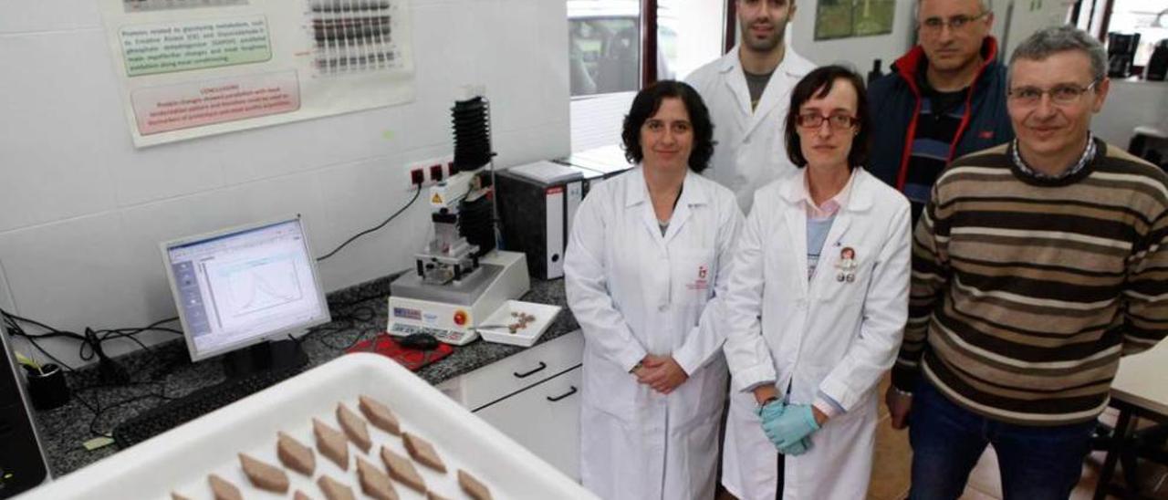 Por la izquierda, Mamen Oliván, Fernando Díaz, Yolanda Diñeiro, Valentín García y Antonio Martínez, ayer en el área de sistemas de producción animal del Serida. En primer término, varias muestras de carne