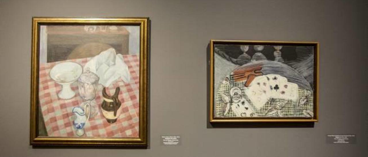 Arriba, obra de Varela y de Pancho Cossío. Abajo la sala que compara a Varela con otros artistas.