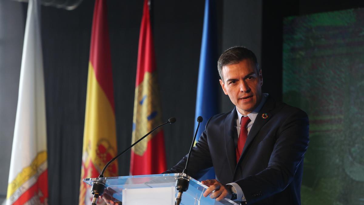 Pedro Sánchez durante el acto inaugural de la cumbre en Soria.
