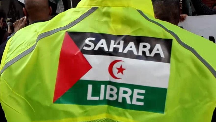 Protesta de saharauis ante el consulado de Marruecos en Las Palmas de Gran Canaria