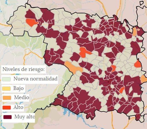 Mapa municipal de las localidades con casos de coronavirus