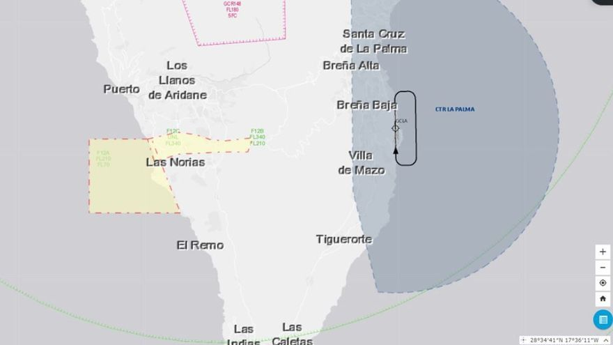 Restringidos los vuelos en dos zonas aéreas de La Palma