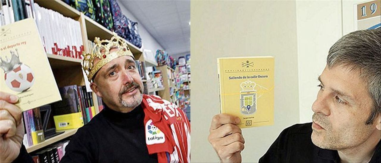 Maxi Rodríguez y Sergio Cortina con sus libros.