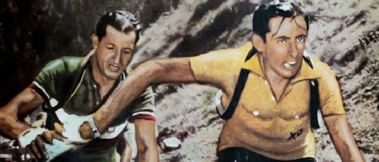 Gino Bartali y Fausto Coppi se ceden una botella de agua en una emblemática imagen del  del Tour de Francia del 1952