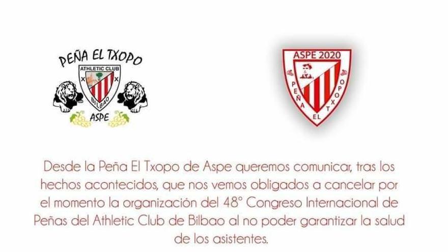 El Congreso Internacional de Peñas del Athletic previsto para mayo en Aspe se cancela