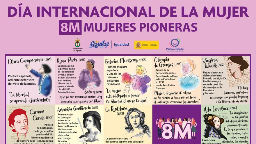 Ayuntamiento de Águilas | Los edificios emblemáticos 'se visten' de mujeres que rompieron barreras