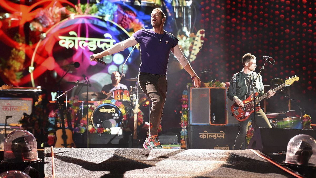 Coldplay, during a concert.