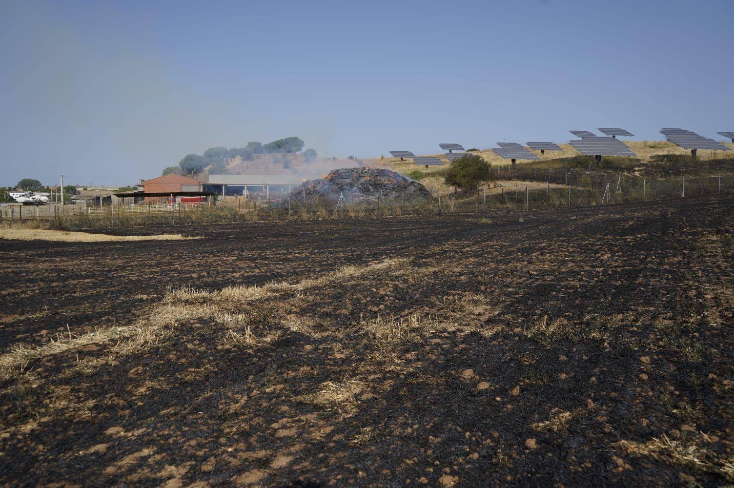 Incendio en una explotación ganadera de la carretera de La Hiniesta