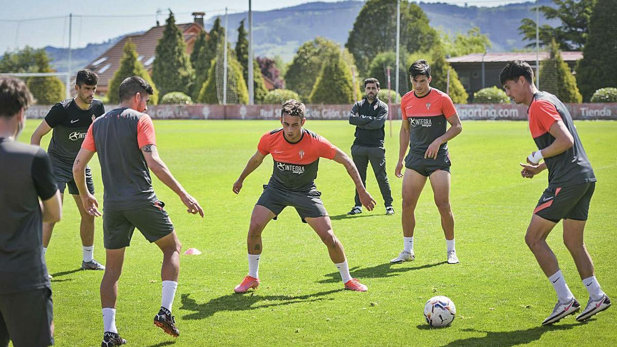 Pablo Pérez, Cristian Salvador, Pedro, Carmona y el miembro del cuerpo técnico Carlos Hernández, ayer, en Mareo, haciendo un rondo ante la mirada de Gallego, al fondo. | RSG