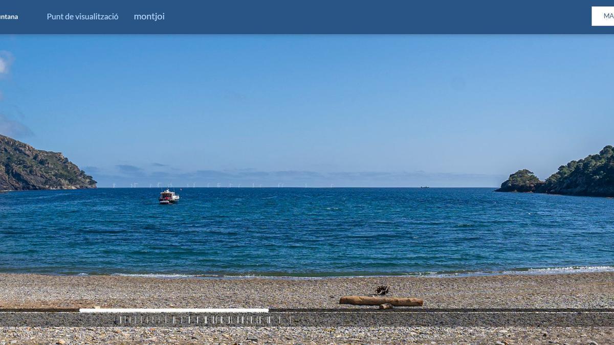 Una recreació de la vista des de la costa dels aerogeneradors al cap de Creus