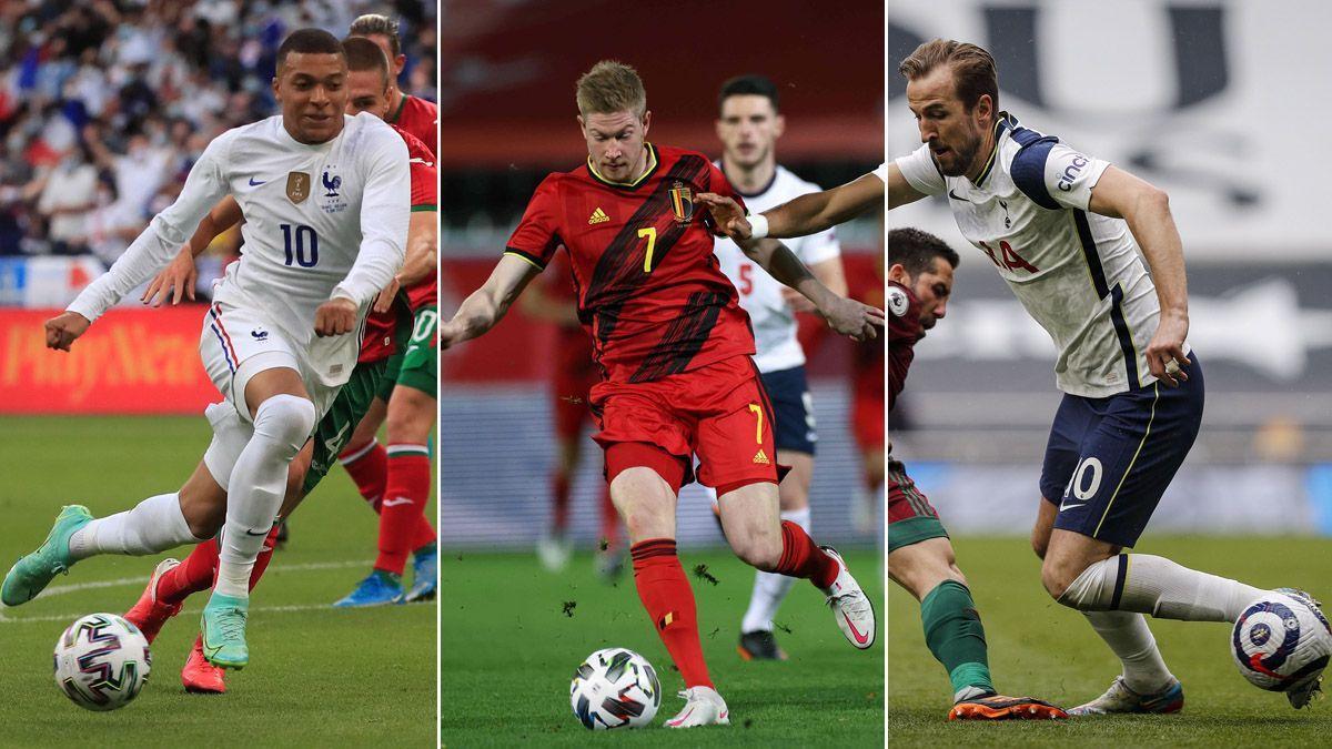 Mbappé, De Bruyne y Kane, tres grandes estrellas de la Eurocopa que empieza este viernes.