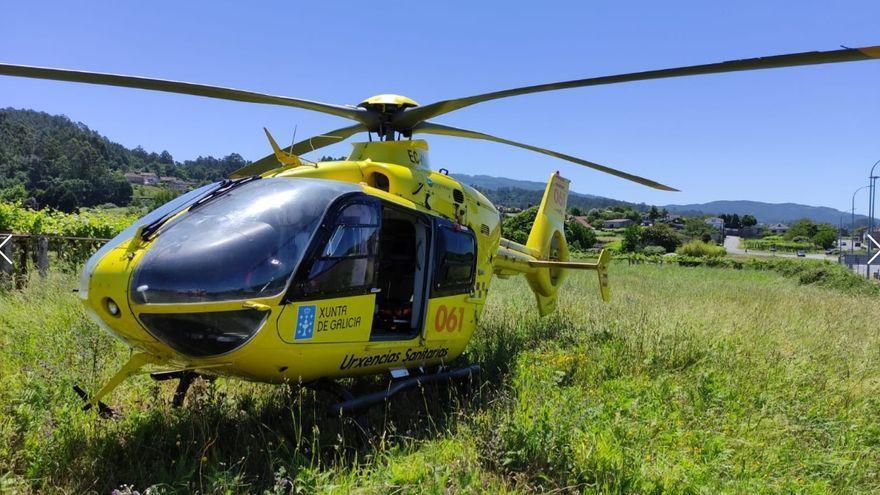 Trasladado en helicóptero al hospital tras sufrir una salida de vía en Ourense