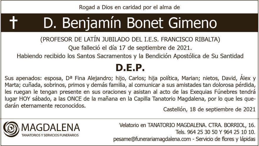 D. Benjamín Bonet Gimeno