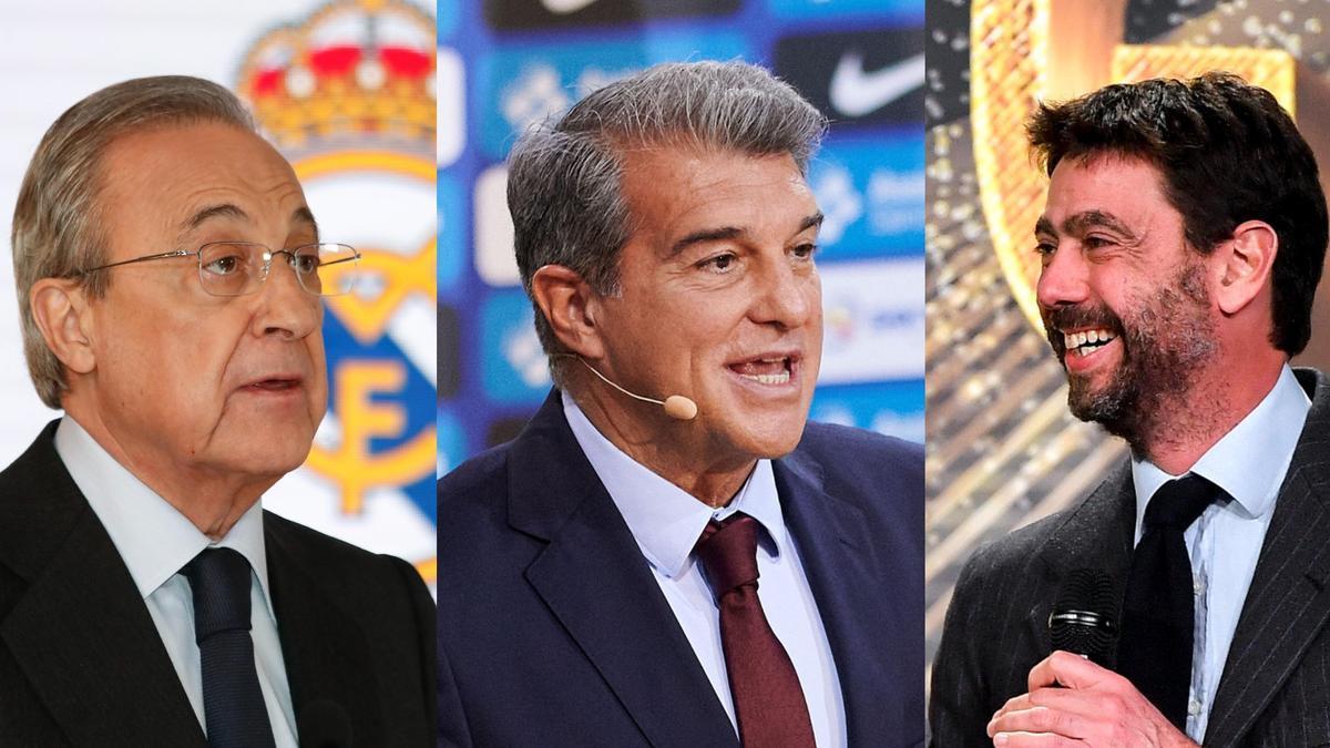 Florentino Pérez, Joan Laporta y Andrea Agnelli, presidentes de Real Madrid, Barcelona y Juventus.