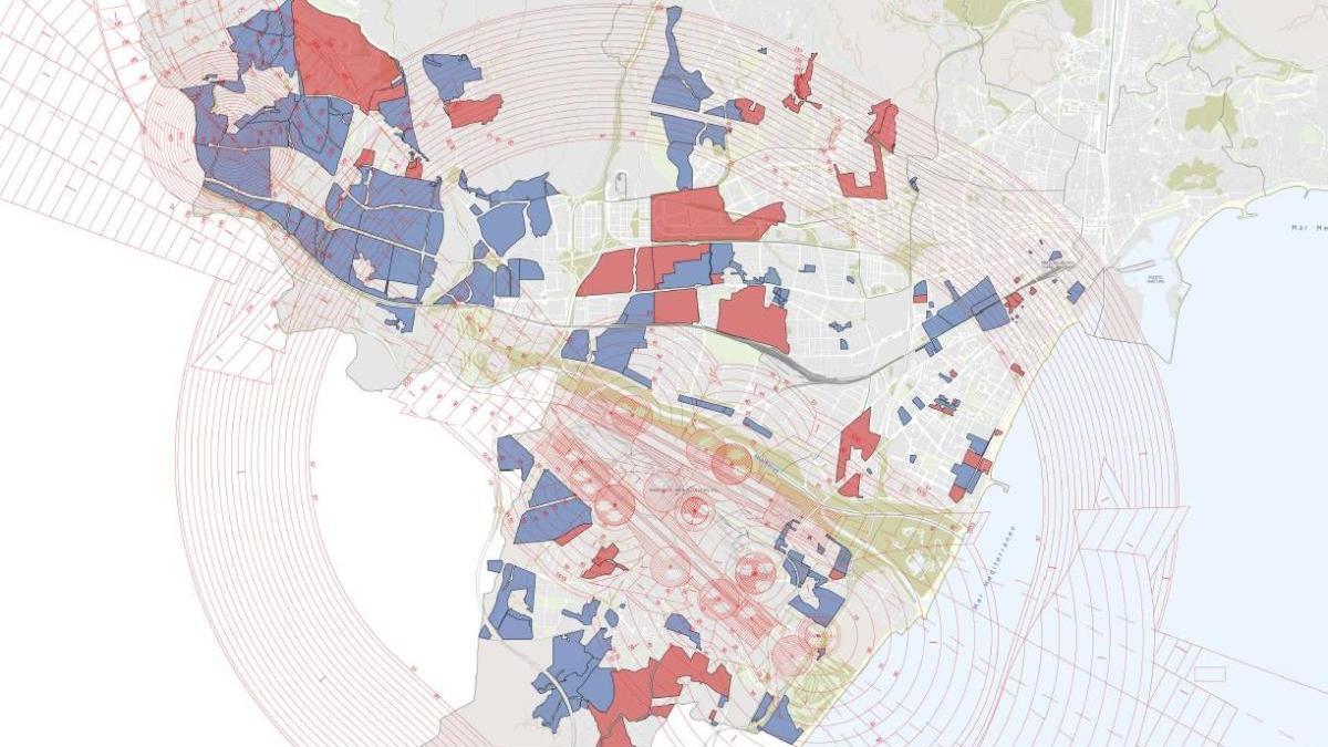 Mapa de los suelos afectados: los azules no tienen el planeamiento aprobado, la superficie en rojo, sí.