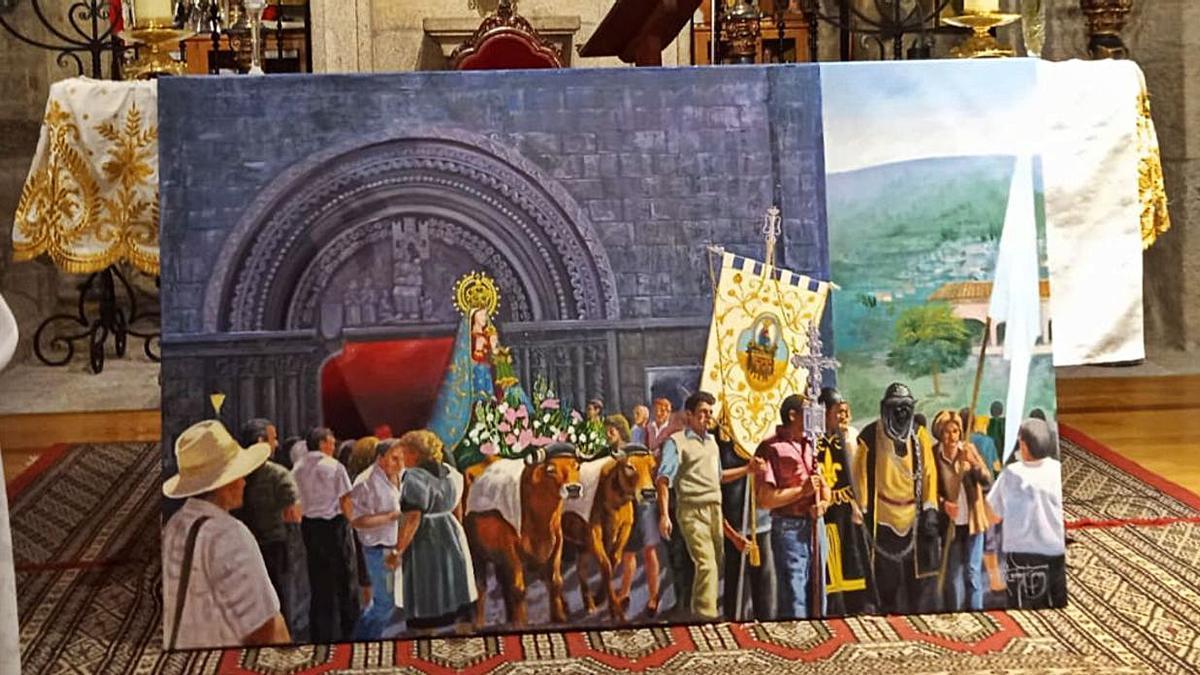 Pintura da romaría de setembro no santuario da Franqueira, obra de Xabier Lemos.    // D.P.