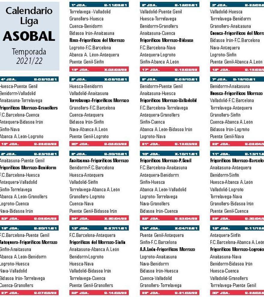 Calendario de la Liga Sacyr Asobal para la temporada 2021/22