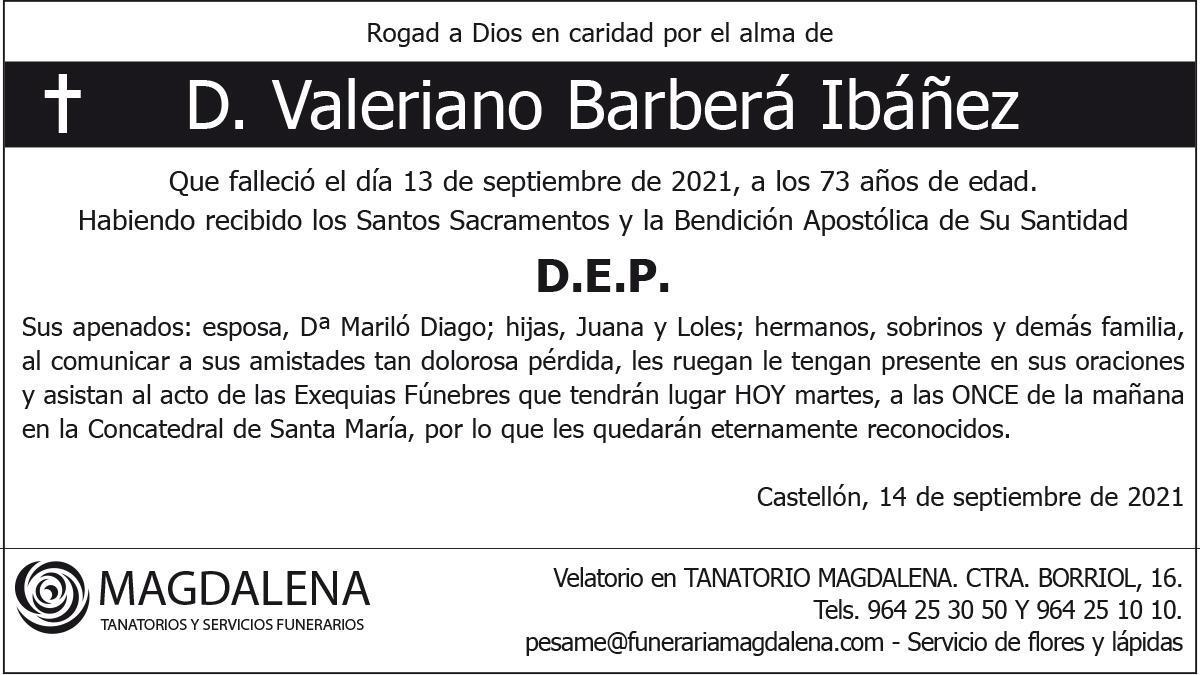 D. Valeriano Barberá Ibáñez