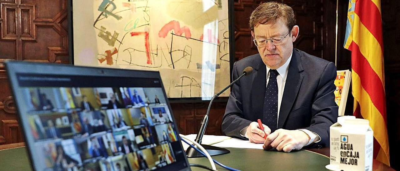 El presidente de la Generalitat, Ximo Puig, en la conferencia de presidentes de hace dos domingos.