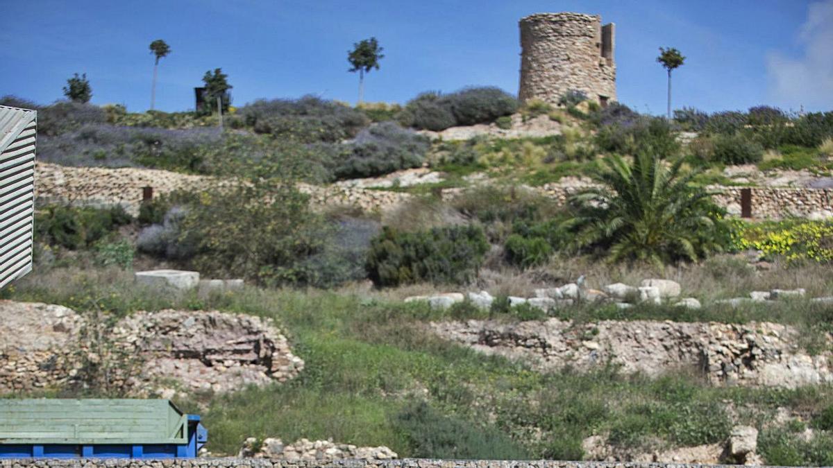 Técnicos de Culturaobservan el cerro delMolinete desde el Foro Romano.