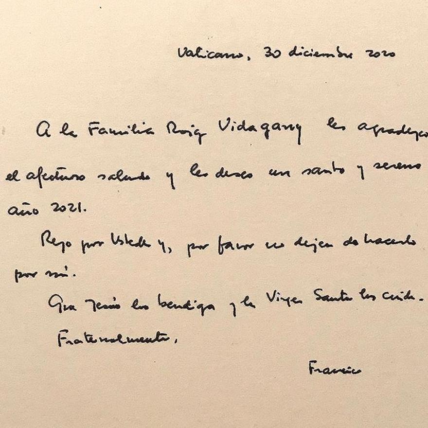 La carta manuscrita del Papa Francisco