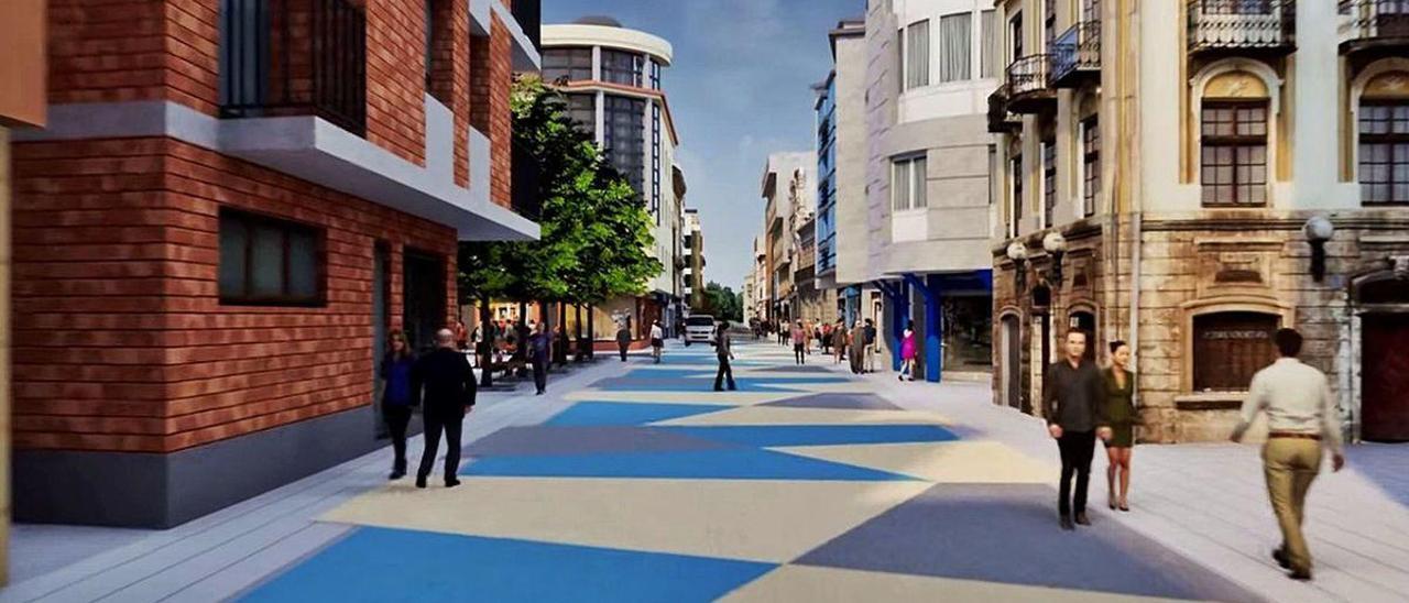 Recreación del aspecto que tendrá la calle Libertad de Pola de Laviana tras las obras.