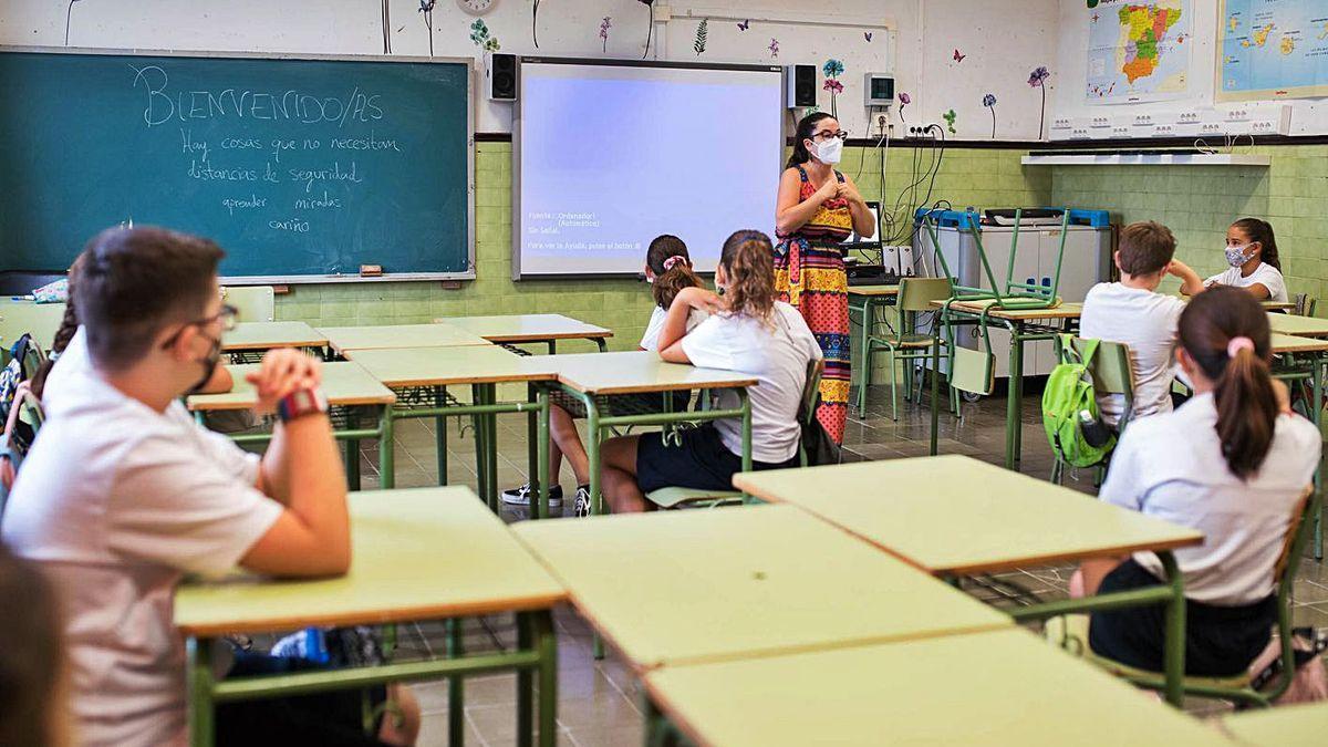 Un grupo de alumnos durante una clase en un colegio tinerfeño.