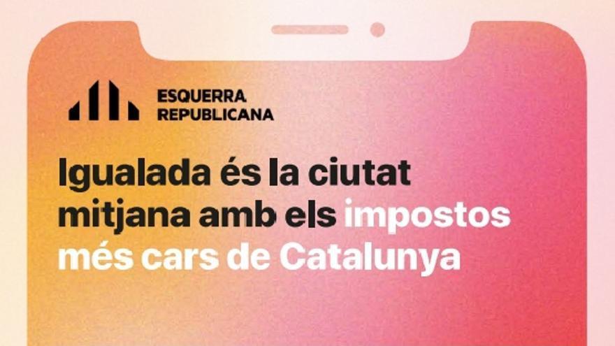 """ERC denuncia que el govern d'Igualada els """"censura"""" un cartell sobre l'IBI"""