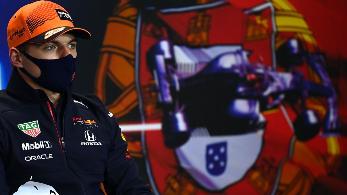 Max Verstappen durante la rueda de prensa para el Gran Premio de Portugal.