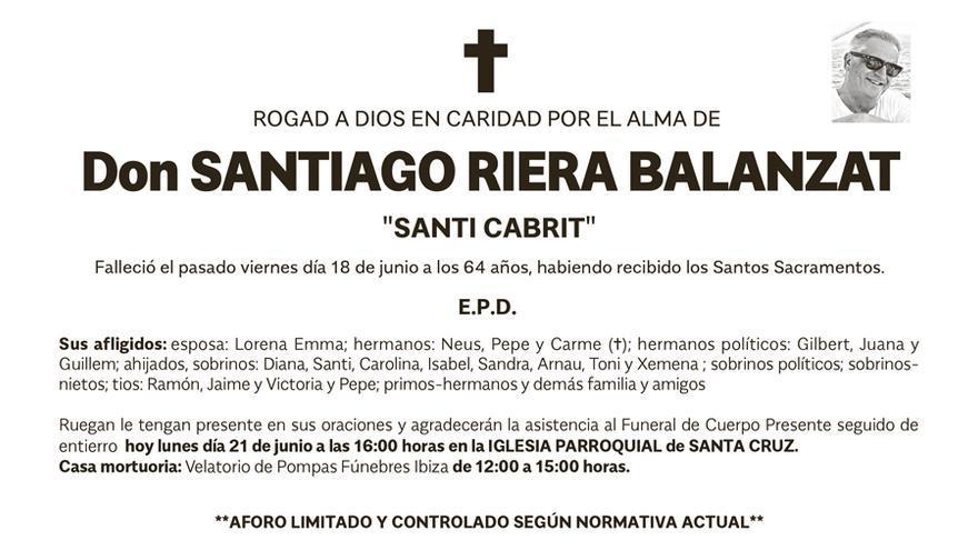 Esquela Santiago Riera Balanzat