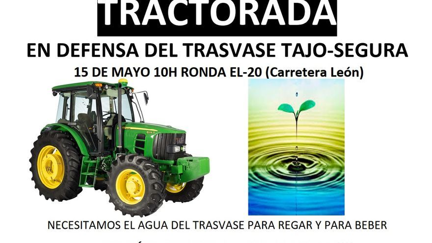 Movilización el sábado de los agricultores de Elche en defensa del trasvase
