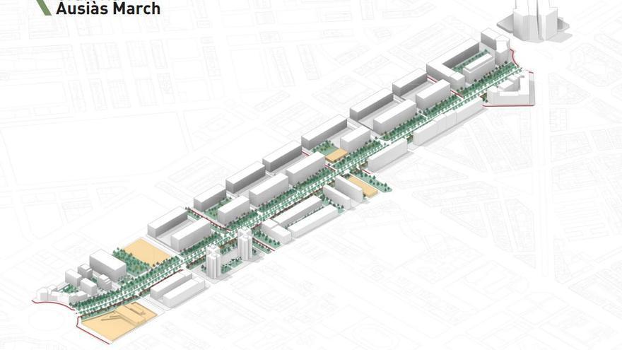València convertirá Ausiàs March en un bulevar peatonal sin pasarelas y solo 6 carriles