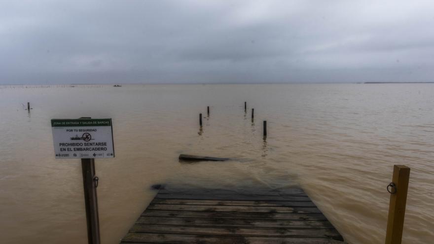 Los embarcaderos de l'Albufera desaparecen bajo las aguas crecidas del lago