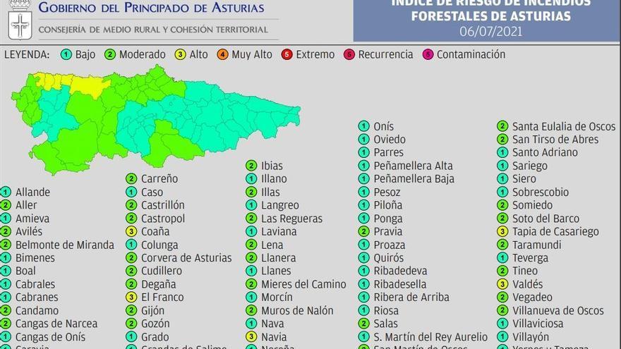 Cinco concejos asturianos tendrán este martes riesgo alto de sufrir incendios forestales