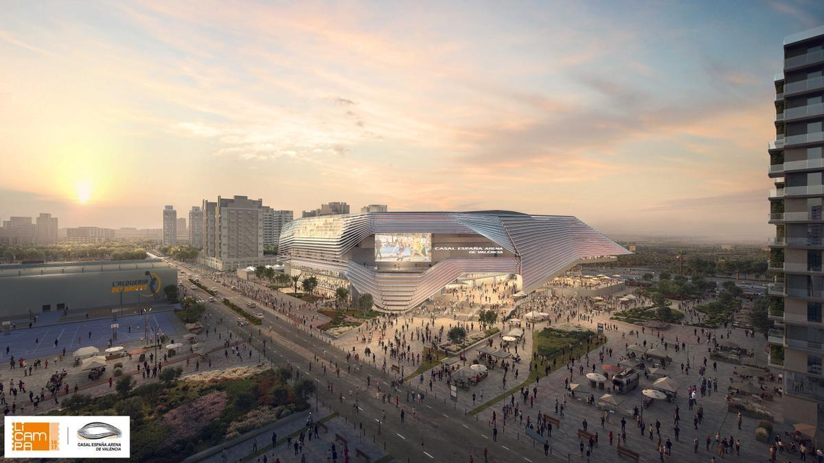 Fachada del futuro Casal España Arena de València.