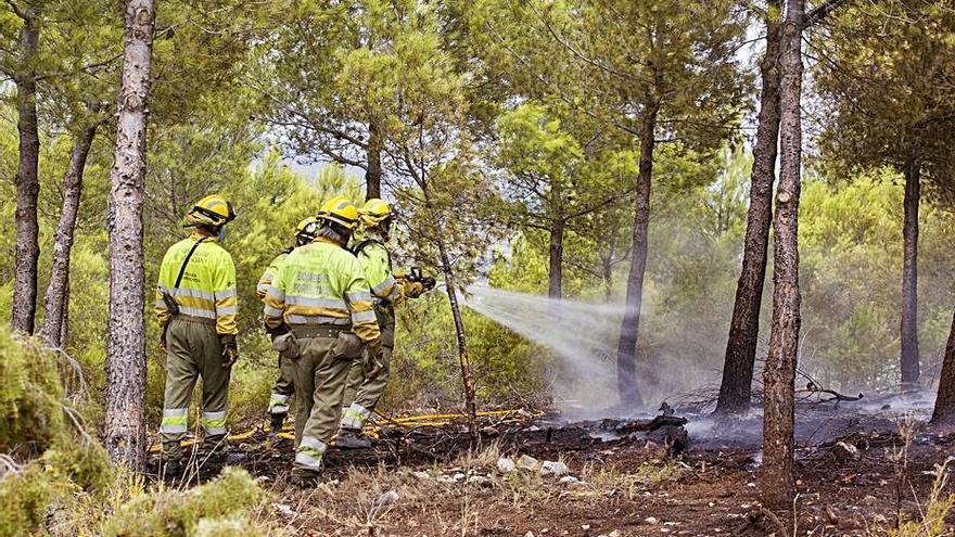 La rápida intervención de los bomberos corta un peligroso incendio en la Serra del Torrater
