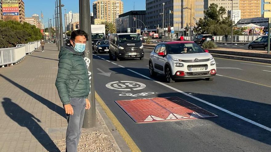 """Colocan """"cojines berlineses"""" para ralentizar el tráfico en el puente de Nuevo Centro"""