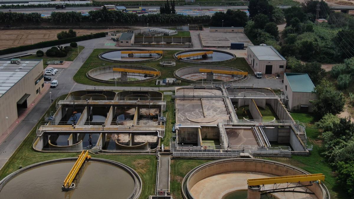 Imatge aèria de la depuradora de Blanes.