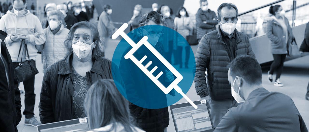 Colas en Gijón para ponerse la vacuna.