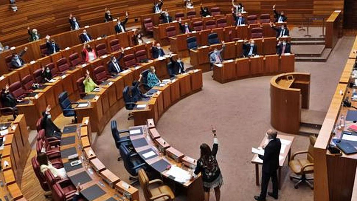 Votación en la segunda jornada del Pleno de las Cortes. | Ical