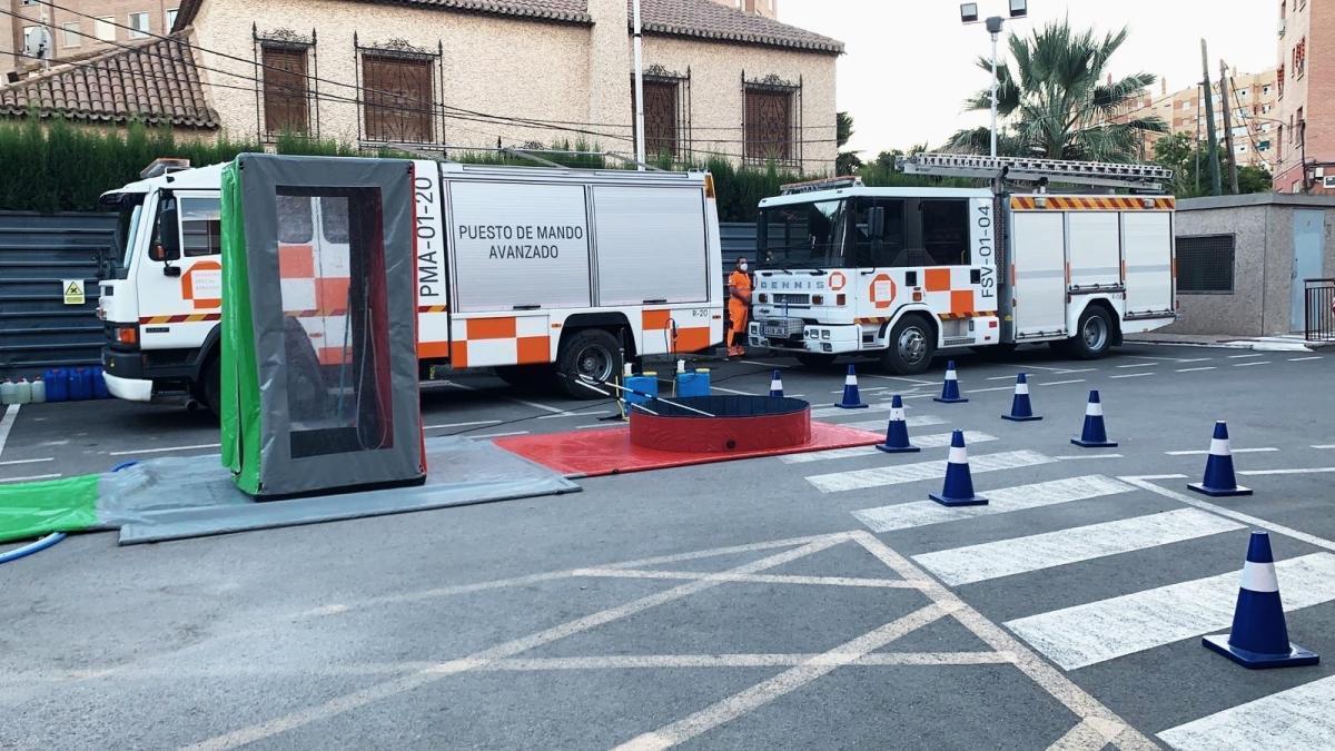 Dispositivo instalado en el Hospital Virgen del Alcázar de Lorca para contener el brote.