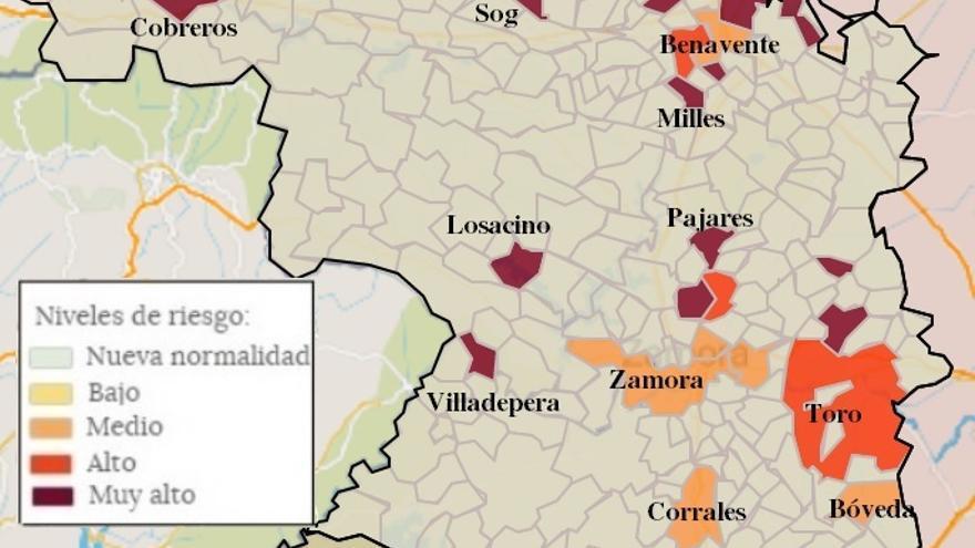 Mapa de coronavirus de Zamora, hoy, domingo | Tera y Morales de Toro, libres del virus