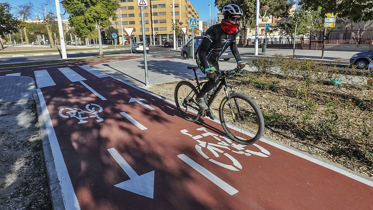 Yesterday, a cyclist passed through the new section of the Elche bike path that was inaugurated on Ramón Pastor avenue.  |  ANTONIO AMORÓS