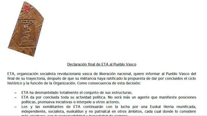 El comunicado íntegro de ETA: un final sin perdón