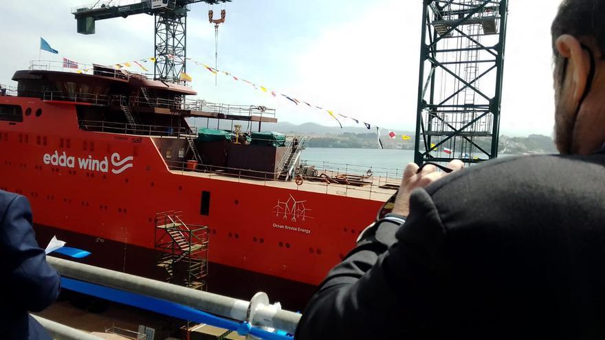 Astilleros Gondán bota el buque C489, para el apoyo a parque eólicos marinos en Noruega