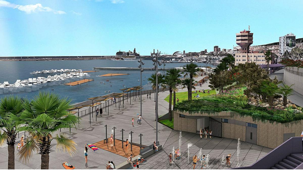 Infografía en la que se puede observar cómo quedará el litoral de Valleseco una vez que se ejecute el esperado proyecto de la Zona de Charcos.