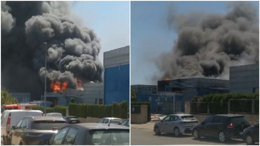 Más de cien personas desalojadas en el incendio industrial de Picassent