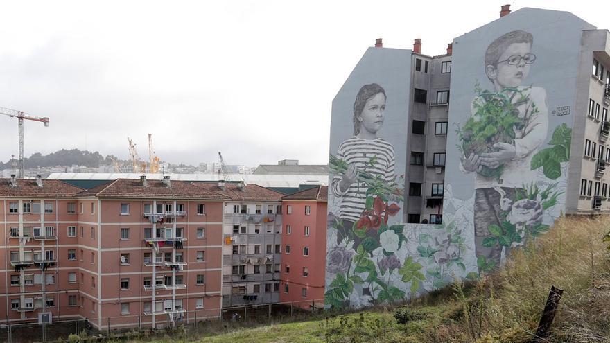 Una imagen del mural antes de que comenzasen las obras de urbanización