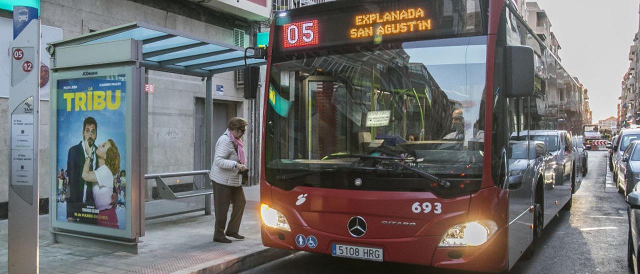 Un autobús del servicio municipal, por una calle de Alicante