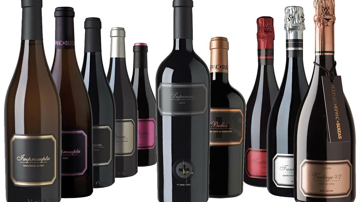 Colección de vinos de las Bodegas Hispano+Suizas.